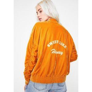 🆕 SWEET LIKE HONEY Velvet Bomber Jacket